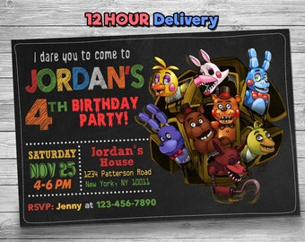 Five Nights At Freddys Invitation With FREE Thank You Card Birthday 5 Party FNAF