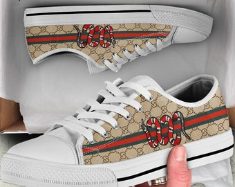 b3a8966f1 Custom Gucci Snake Shoe, Gucci Inspired Sneaker, Gucci Converse Sneaker,  Vintage Gucci Shoe, Gucci Low Top, Shoes With Snake, Monogram Gucci
