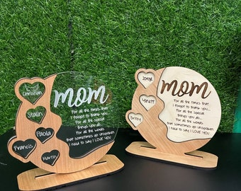 Gifts for Mom, Grandma  Personalized Cherrywood - Acrylic - Birch wood  Plaque, Beautiful gift -  Mom gift