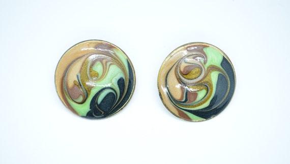 Vintage Jewelry Square Stud Earrings 80/'s Enamel Metal Fashion Earrings Unique Retro Earrings Emerald Green Marble Swirl Design