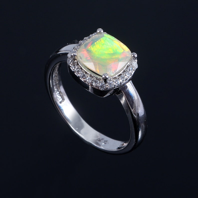 925 Sterling Silver Unique Natural Ethiopian Opal Engagement Ring 8 MM Multi Color Fire Opal Ring  Ethiopian Opal Ring  Opal Rings