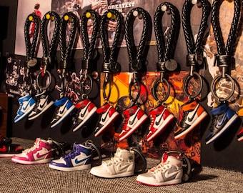 358cdd01aeba74 AJ1 Black Toe 3D Mini Sneaker Keychain with Box Bag Gift Set