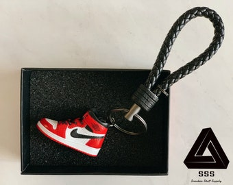 6142b47e33b AJ1 Chicago 3D Mini Sneaker Keychain with Box/Bag Gift Set