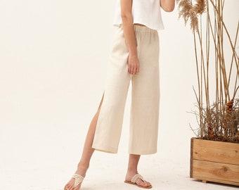 Beige flowy pants, high waisted pants, gaucho pants, palazzo pants, flowy summer pants, baggy culottes, formal culottes, elegant linen pants
