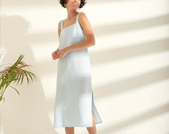 Midi linen dress, Simple linen dress, Linen beach dress, Long linen dress, Loose linen dress, Linen summer dress, Linen clothing