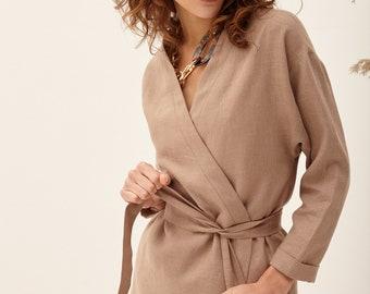 485f3676c4d516 Short Linen Kimono, Cardigan Jacket, Linen Jacket , Oversized Kimono, Kimono  Blouse, Linen Kimono, Linen Kimono Jacket, Wrap Jacket