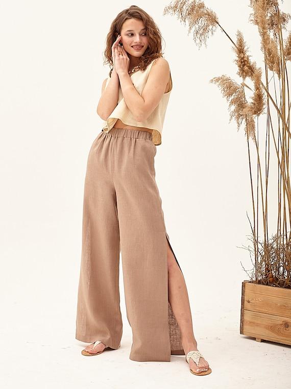 palazzo pants baggy culottes formal culottes elegant linen pants Tan linen pants gaucho pants flowy summer pants linen beach pants