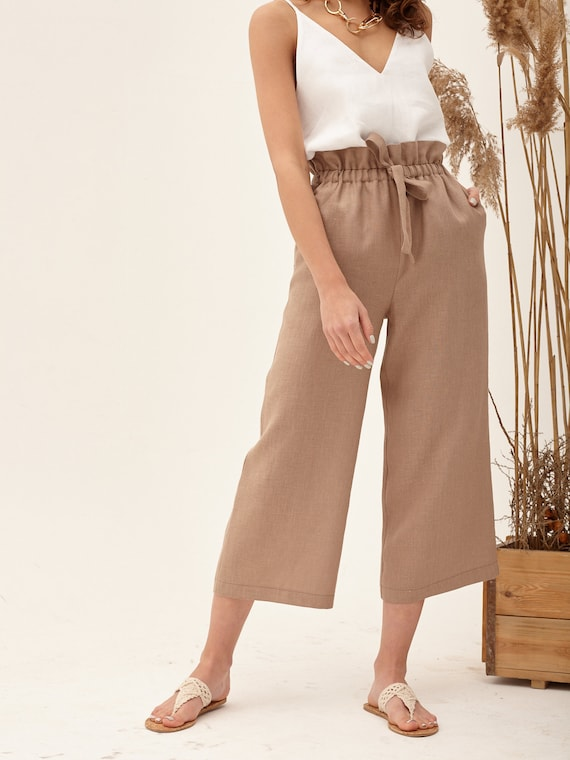 high waist women/'s culottes cinnamon color culottes with tie waist