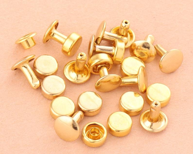 8 mm gold Double Cap Rivets,Metal Button Round Rapid Rivet,antique rivet studs for purse bags Handbags Shoes Belts leather craft