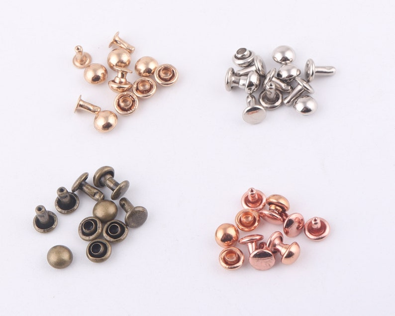 rose gold Double Cap Rivets,Metal Button Round Rapid Rivet,rivet studs for purse bags Handbags Shoes Belts leather craft diy 100sets