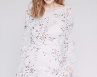 Boho bohemian wedding dress Alison flowers western country lace