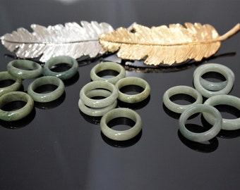 Regular Width Jade ring, Jadeite ring, Jade ring, One sided puff Jade ring, Jade ring band for woman and man from Burma, Green Jade Ring,