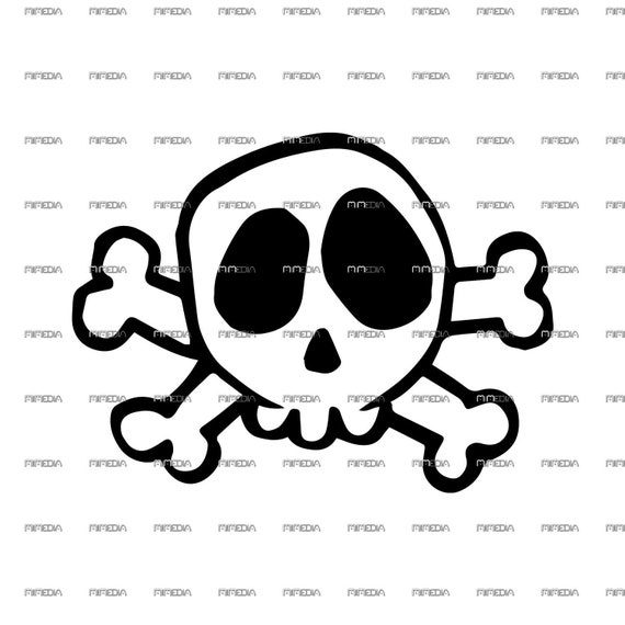 Skull And Crossbones Printable Svg Png Pdf Dxf Eps Etsy