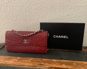 e6d140bc2dee98 Authentic Chanel Camellia Customized Wallet on a Chain