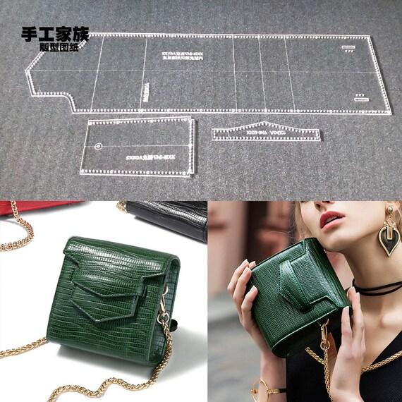 1set DIY Leather Handmade Craft Women Cambrige Handbag Shoulder Bag Sewing Pattern Laser Cut Acrylic Stencil Template 14x19x7cm