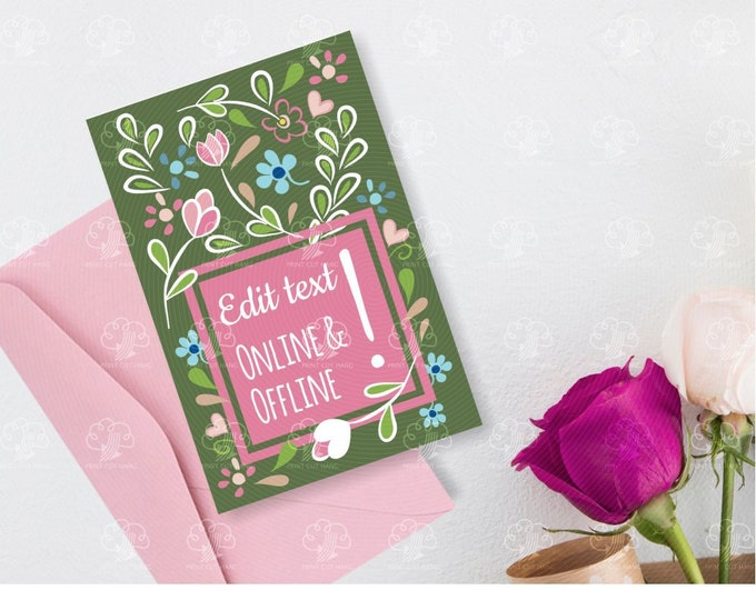 Instant Editable DIY Greeting Cards - Green Floral Card with Pink Text Frame