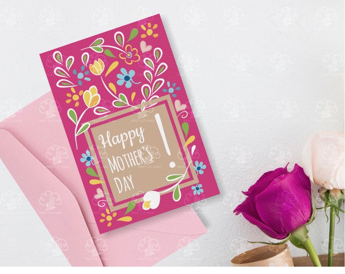 Happy Mother's Day Floral Card - editable card for her
