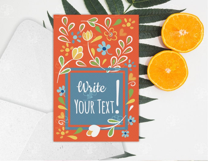 Orange Floral Card Template - Editable Online