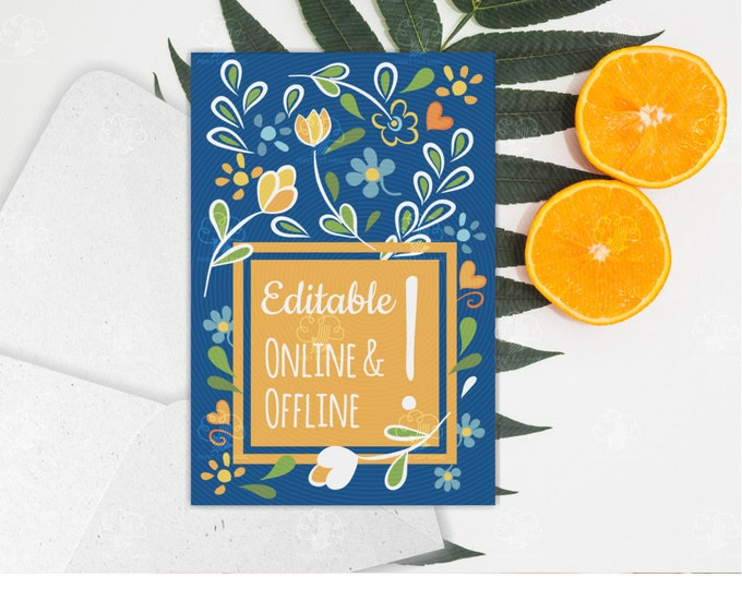 Blank Floral Card - Blue with Yellow Square Space for Text