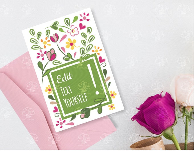 Editable Floral Card Design Template - easy to personalize card yourself