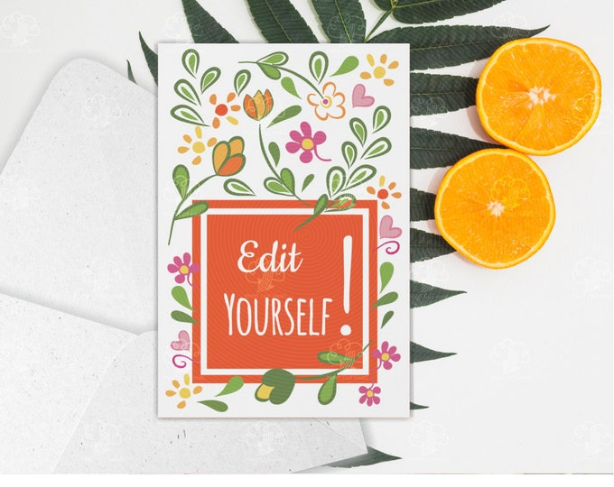Custom White and Orange Floral Card - Text Edit Yourself