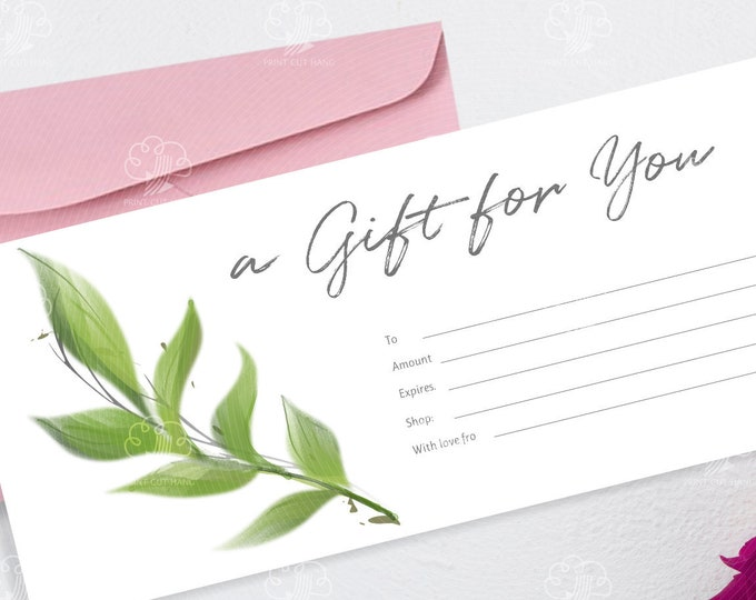 Printable Greenery Gift Voucher - Editable Shop Gift Card - Watercolor Green Leaves Motif