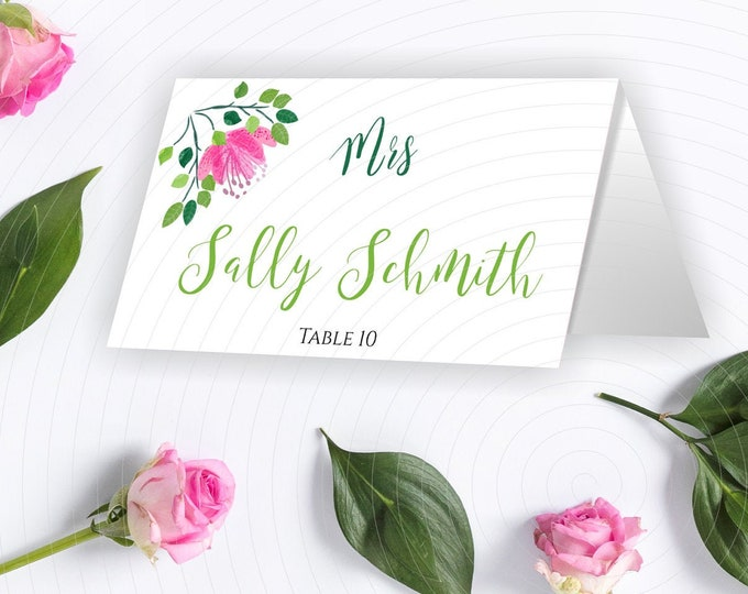 Pink Flowers Wedding Place Card Template - Edit and download yourself - 3.5 x 2 in tent cards