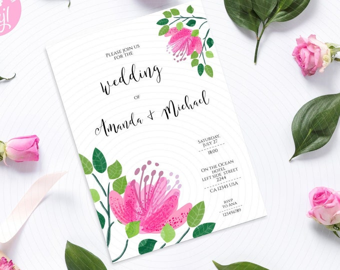 Wedding Invitation Template with Pink Flowers in Corners - Customize Yourself and download