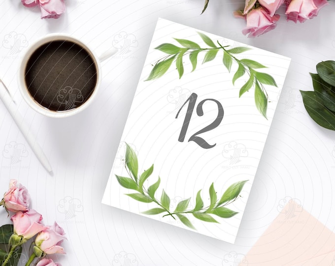 Wedding Tables Numbers in Greenery Wreath - Edit Yourself Template - Printable Tables Decoration