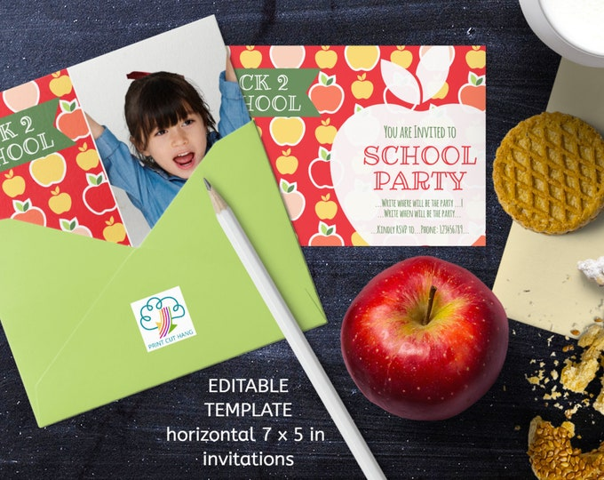 Apples Invitations Back 2 School Editable Templates for Starting New School Year Party