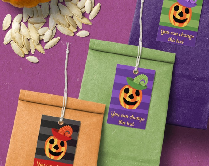 Editable Tags Templates for Halloween Candy Bags with Pumpkins