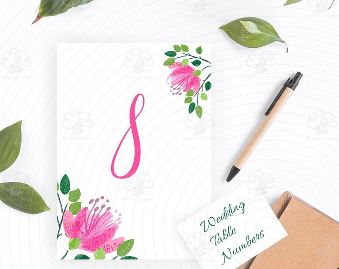 Editable Table Numbers Template - Pink Flowers Wedding Table Decorations 5 x 7 in - Edit Yourself