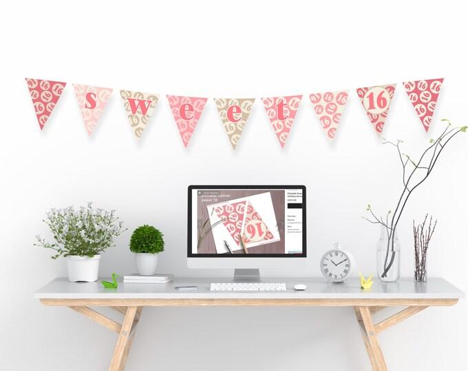 Sweet 16 Printable Birthday Banner - PDF file download