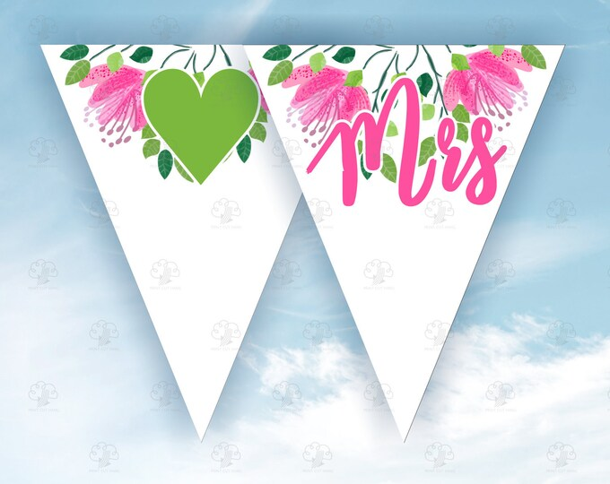 Editable Pink Flowers Printable Wedding Garland Template - Mr and Mrs Editable Banner Letters