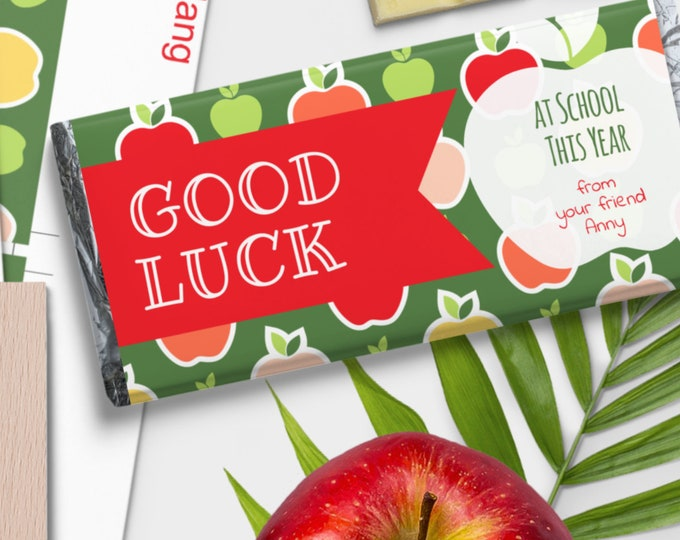 Printable Candy Bar Wrap Template ''Good Luck at School'' Editable with Corjl