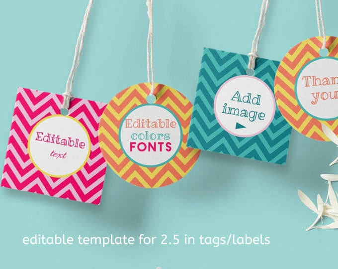 DIY Photo Tags Template - Printable Chevron Tags 2 and half in size
