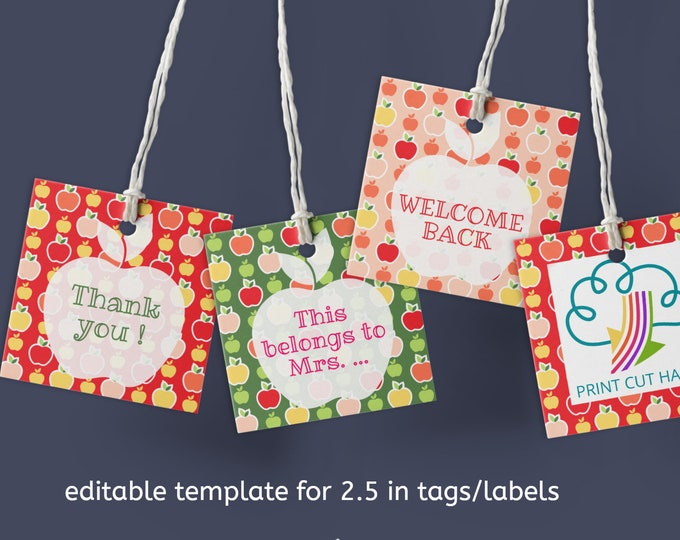 School Labels with Apples Template Editable with Corjl - for 2.5 in tags/labels