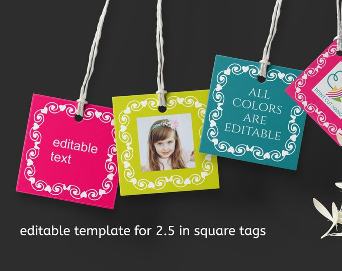 Editable Photo Square Tags with Swirly Frame Template in Bold Colors 2 and half inches size