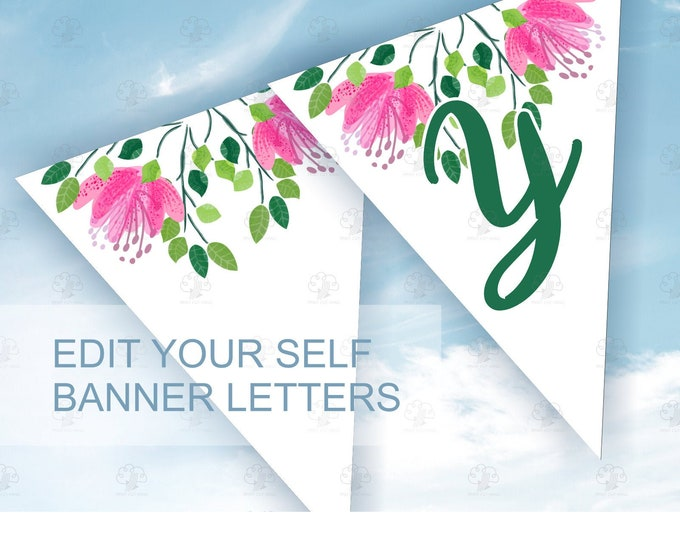 Printable & Editable Banner Template with Pink Flowers - She Said Yes Engagement Banner
