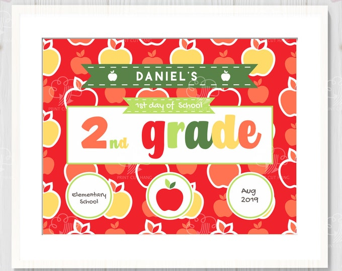Back to School - 1st Day of 2nd Grade Sign -  Editable template