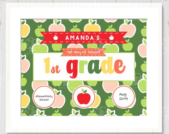 1st Day of School for 1st Grade - Editable - Printable Sign letter size sign template - School Printables
