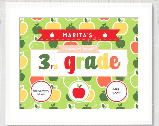 Printable Back to School Sign - 1st Day of 3rd Grade - Edit Yourself Sign Template