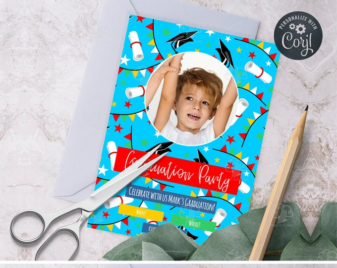 Preschool and Kindergarten Editable Graduation Photo Invitation Template - Bright Blue