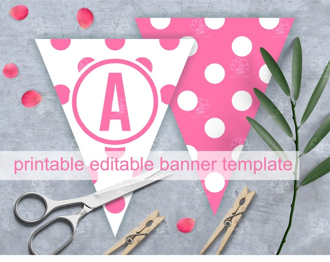 Editable Bunting Letters for  Baby Shower - Pink Polka Dots Banner Template