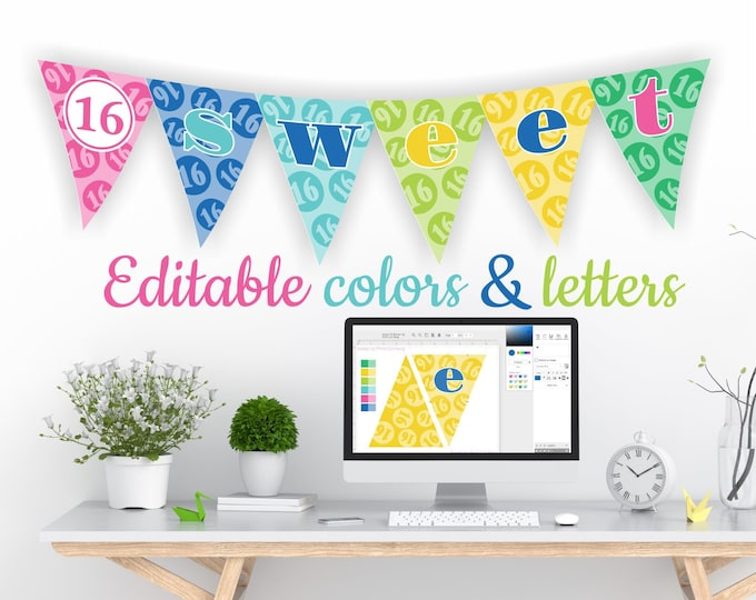 Printable Sweet 16 Decorations - Editable Banner in Summer Colors
