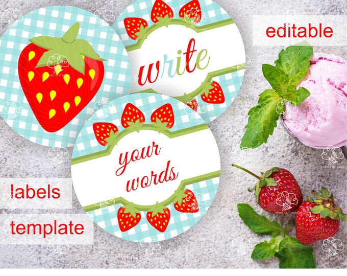Round Strawberry Labels - 2.5 inches - printable and editable on the go
