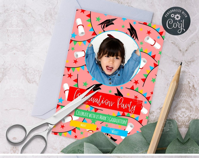 Editable Peach Pink Girl Graduation Invitation Template for Kindergarten, Preschool and Younger School Children