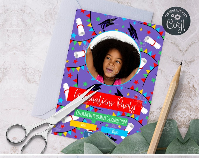 Editable Purple Graduation Party Invites Template - for School Girl Graduate