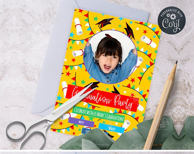 Custom Graduation Invites Template for Younger Kids - Yellow Invitations