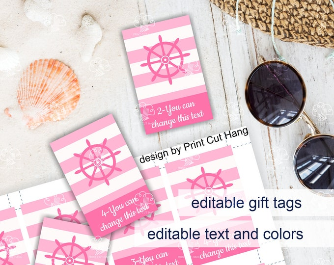 Pink Baby Shower Favor Tags for Girls - Nautical Themed Editable Tags Template